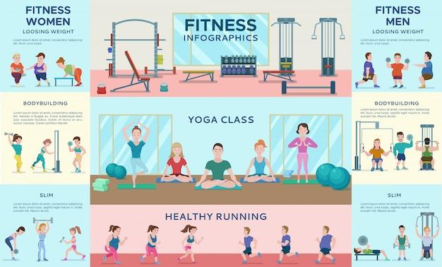 Banners horizontais de infográfico de fitness esportivo