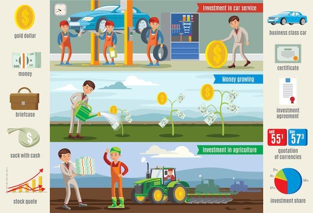 Banners horizontais de infográfico de investimento empresarial