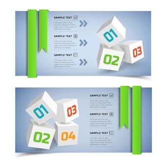 Banners horizontais de infográfico de negócios abstratos com cubos 3d brancos