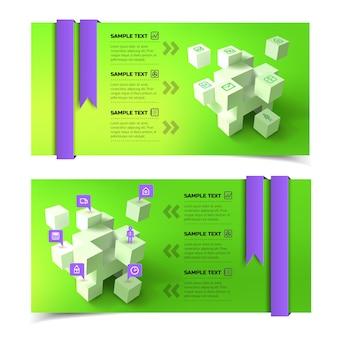 Banners horizontais de infográfico de negócios com cubos 3d