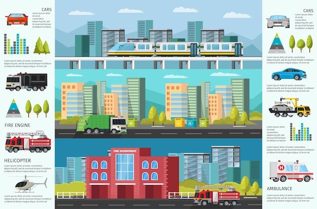 Banners horizontais de infográfico de transporte urbano com paisagem urbana de veículos públicos municipais e diagramas