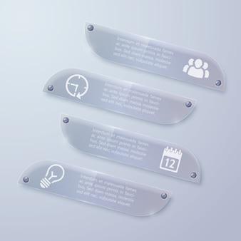 Banners horizontais de infográfico de vidro da web