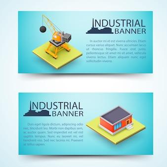 Banners horizontais de instalações industriais e máquinas de construção com a silhueta da fábrica