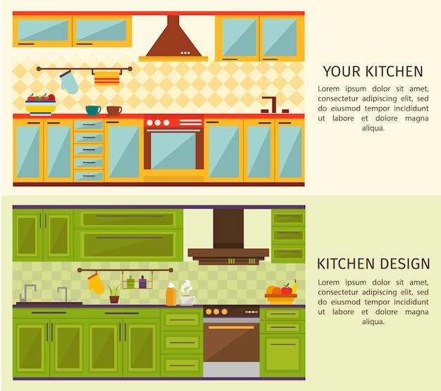 Banners horizontais de interiores de cozinha