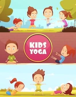 Banners horizontais de ioga de crianças