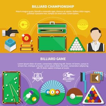 Banners horizontais de jogo de bilhar