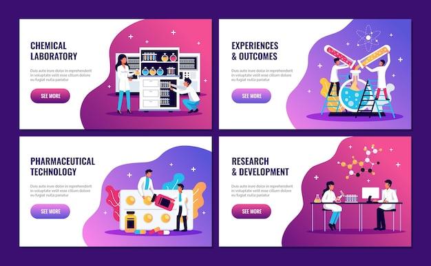 Banners horizontais de laboratório com texto editável para ver mais botões e doodle com ilustração de personagens humanos de cientistas