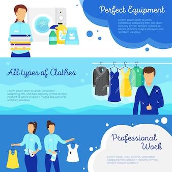 Banners horizontais de lavanderia com símbolos de trabalho profissional
