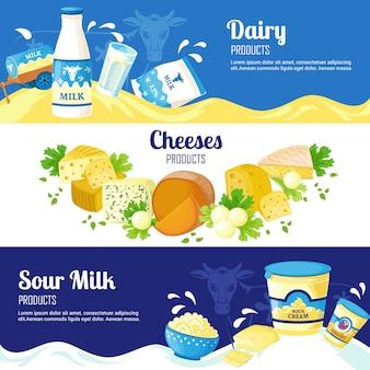 Banners horizontais de leite e queijo