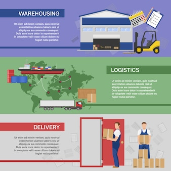 Banners horizontais de logística definidos com sistema de armazenamento de entrega de transporte de mercadorias ao consumidor isolado