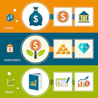 Banners horizontais de lucro do fundo de investimento