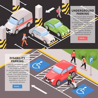 Banners horizontais de lugares de estacionamento isométricos definidos com campos de texto editáveis, mais botões e imagens clicáveis