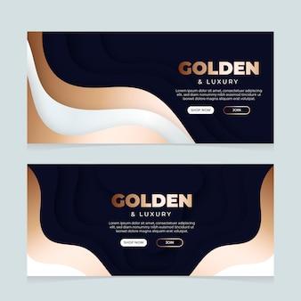 Banners horizontais de luxo em gradiente dourado
