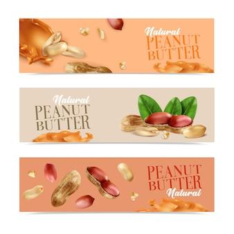 Banners horizontais de manteiga de amendoim natural com nozes descascadas e nozes com casca