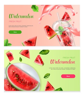 Banners horizontais de melancia com pedaços de frutas frescas no prato e na taça de coquetel