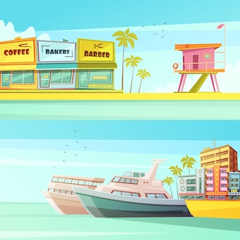 Banners horizontais de miami beach em estilo cartoon