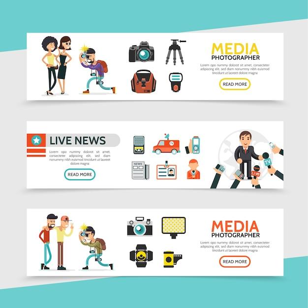 Banners horizontais de mídia de massa plana