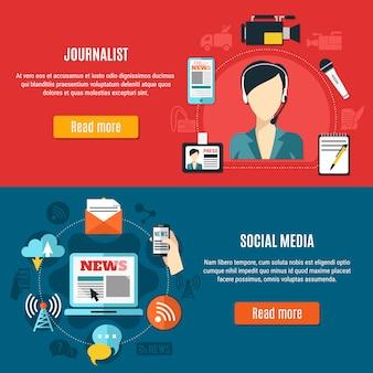 Banners horizontais de mídia social e jornalista