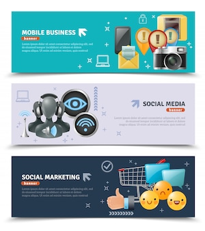 Banners horizontais de mídia social