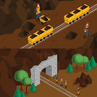 Banners horizontais de mineradores isométricos