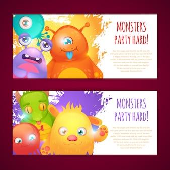 Banners horizontais de monstro
