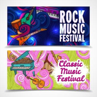 Banners horizontais de música