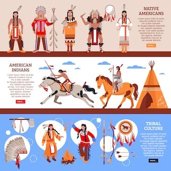 Banners horizontais de nativos americanos