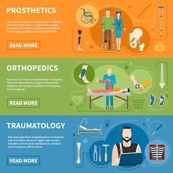 Banners horizontais de ortopedia traumatologia