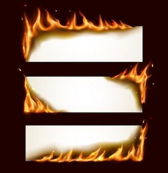 Banners horizontais de papel queimando