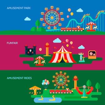 Banners horizontais de parque de diversões conjunto com símbolos de parque de diversões