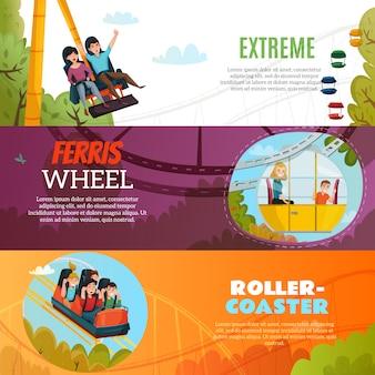 Banners horizontais de parque de diversões