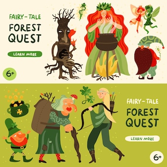 Banners horizontais de personagens de contos de fadas da floresta com ilustração plana isolada de símbolos de missão na floresta