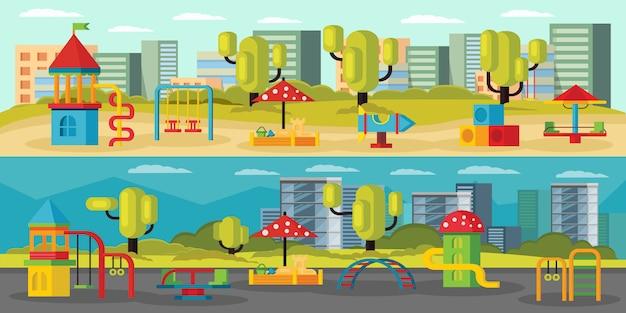 Banners horizontais de playground para crianças