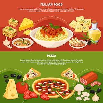 Banners horizontais de pratos italianos