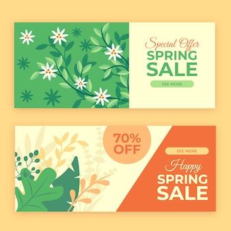 Banners horizontais de primavera plana venda