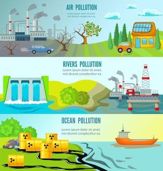 Banners horizontais de problemas ecológicos
