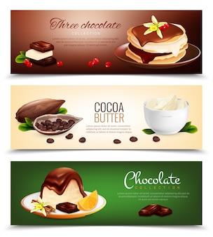 Banners horizontais de produtos de chocolate