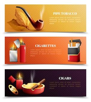 Banners horizontais de produtos de tabaco