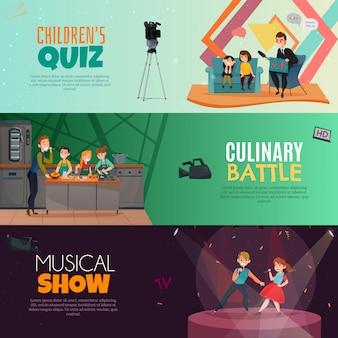 Banners horizontais de programa de tv para crianças