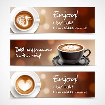 Banners horizontais de publicidade de café