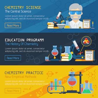 Banners horizontais de química de árvore