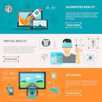 Banners horizontais de realidade aumentada virtual