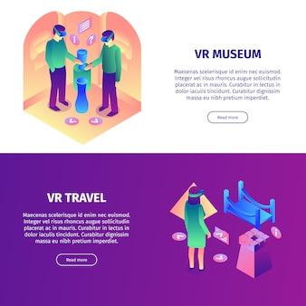 Banners horizontais de realidade virtual isométrica definida com leia mais botões itens coloridos e pessoas vector a ilustração