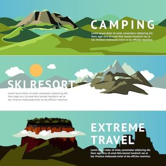 Banners horizontais de recreação ao ar livre