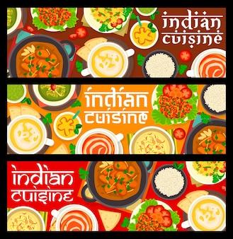 Banners horizontais de refeições em restaurantes de comida indiana