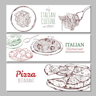 Banners horizontais de restaurantes italianos