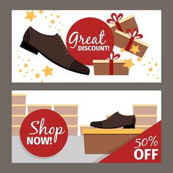 Banners horizontais de sapatos masculinos para publicidade