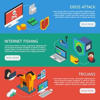 Banners horizontais de segurança isométrica da internet