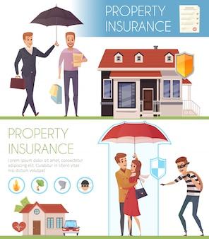 Banners horizontais de seguro de propriedade com pessoas sob o guarda-chuva como proteção de símbolo da vida pro