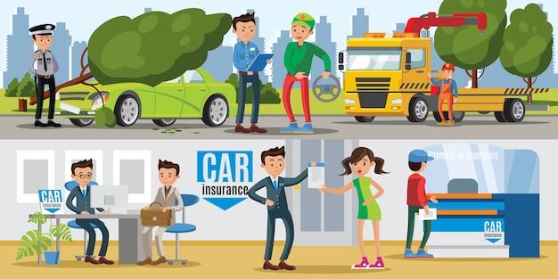 Banners horizontais de seguros de automóveis